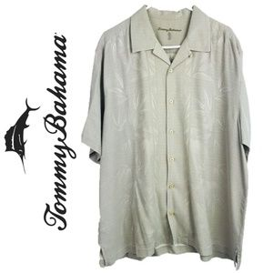 Tommy Bahama Beige Casual FronFloral Camp Shirt XL